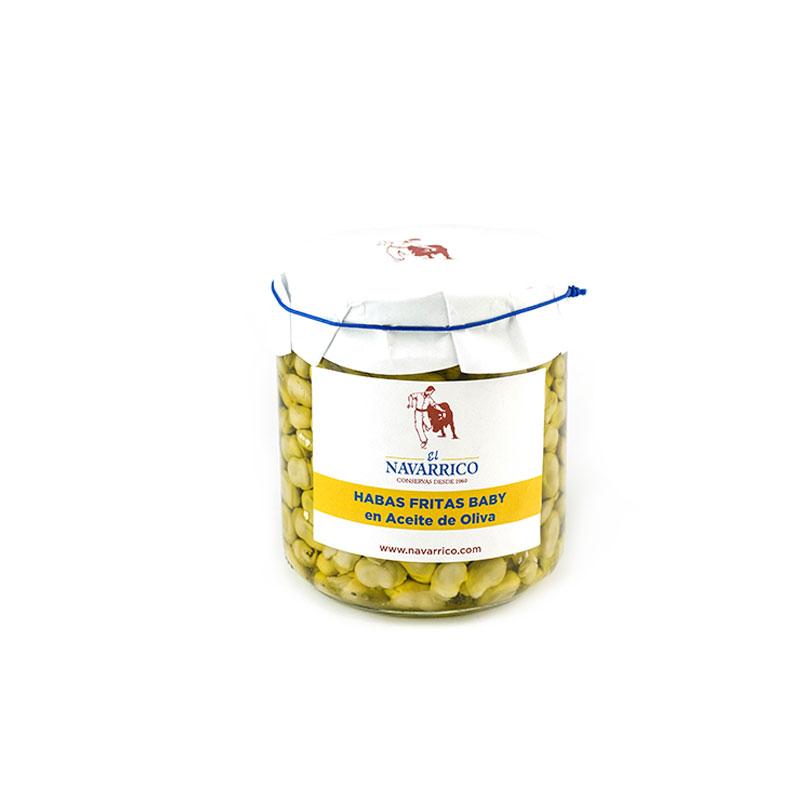 habas fritas en conserva con aceite de oliva